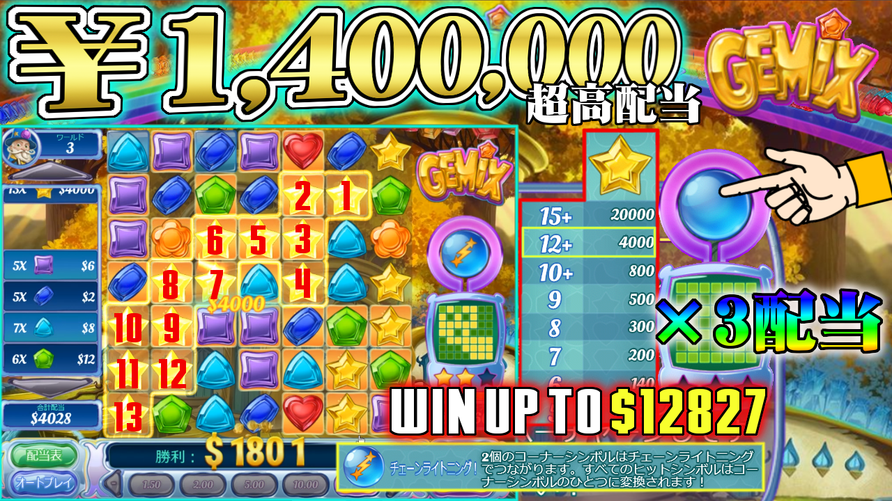 ライブカジノハウス【GEMIX $20BET】140万配当獲得