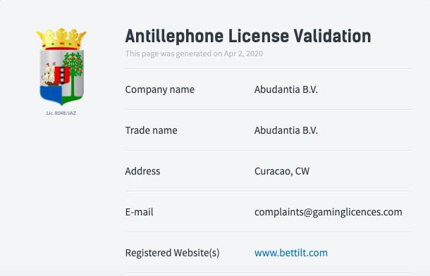 ベットティルト のライセンス