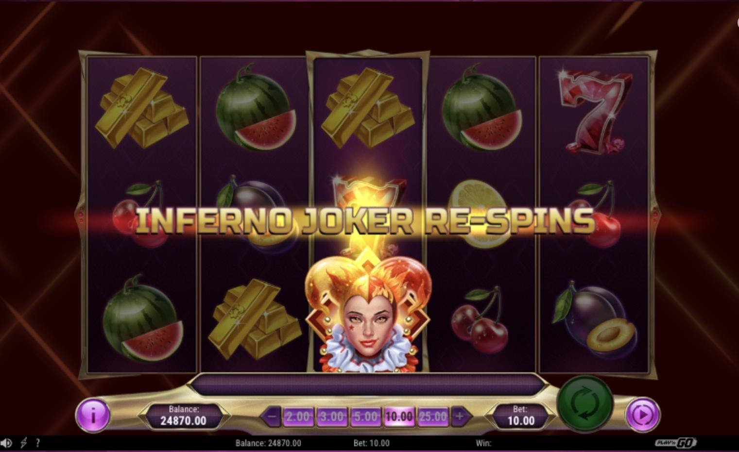 Inferno Jokerのフリースピン獲得画面