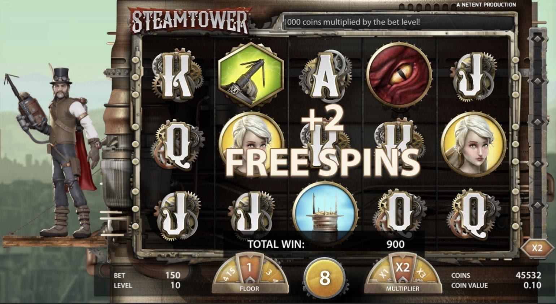 Steam Towerのフリースピン獲得画面